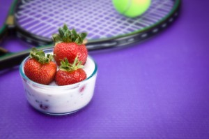 Tennis racquet and strawberries Wimbledon